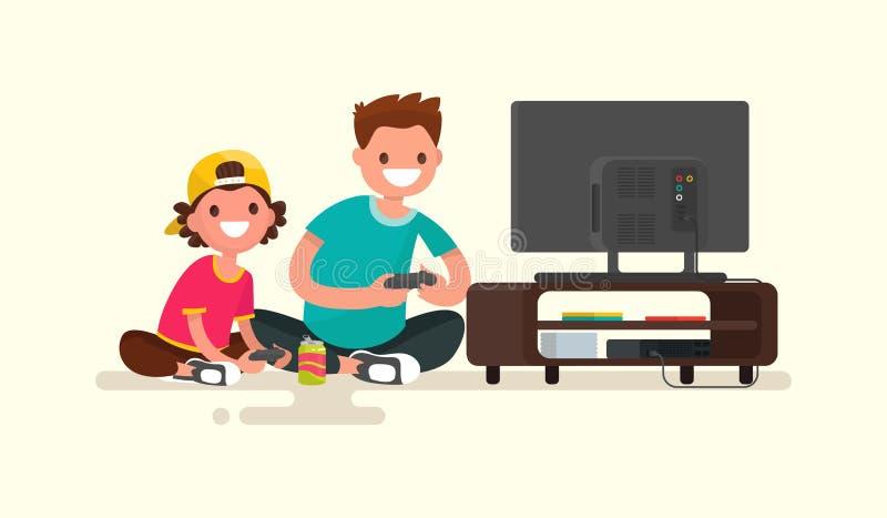 Fader och son som spelar videospel på en modig konsol Vektor dåligt royaltyfri illustrationer