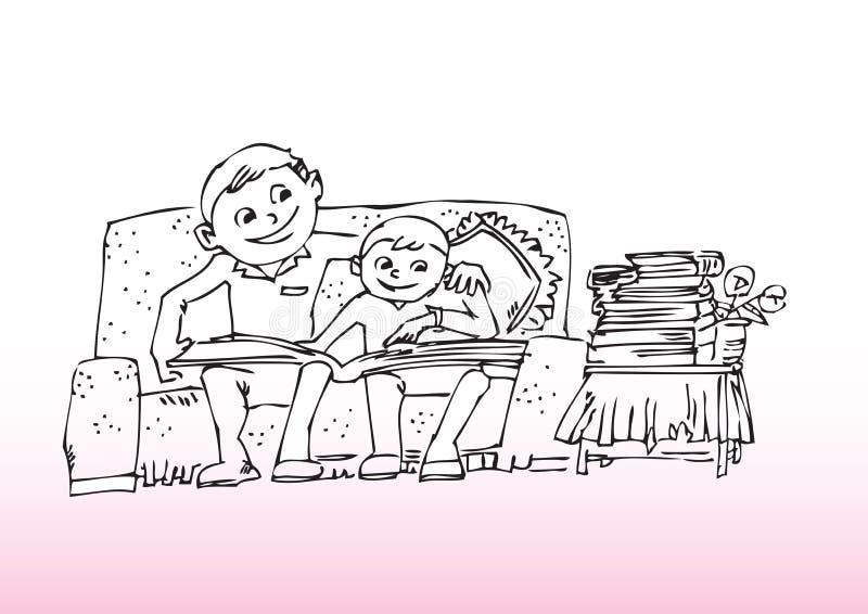 Fader- och sonavläsning stock illustrationer