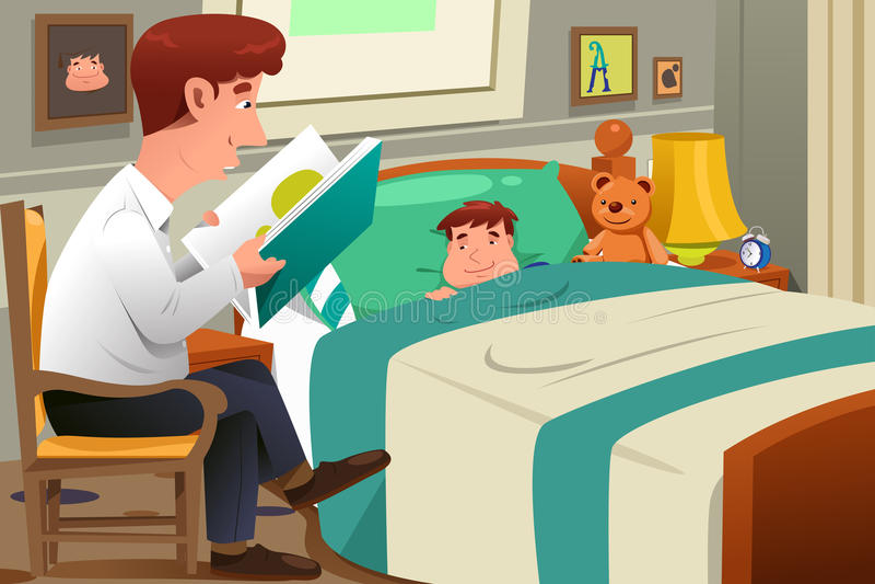 Fader Reading Story royaltyfri illustrationer