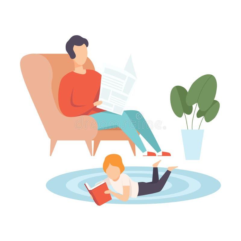 Fader Sitting i fåtölj och läsningtidning, hans lilla son som ligger på golv på hans mage, och läsebok, familj vektor illustrationer