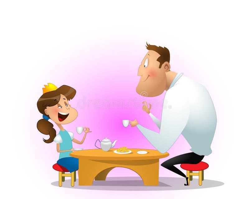 Fader som dricker te med dottern stock illustrationer