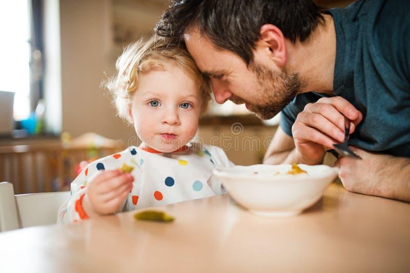 Fader som hemma matar en litet barnpojke royaltyfria bilder