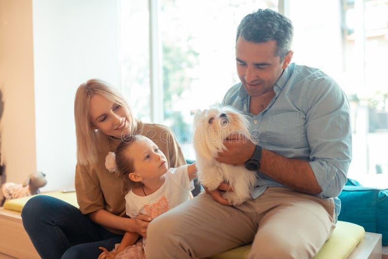 Fader som rymmer den vita fluffiga hunden som sitter nära fru och dotter fotografering för bildbyråer