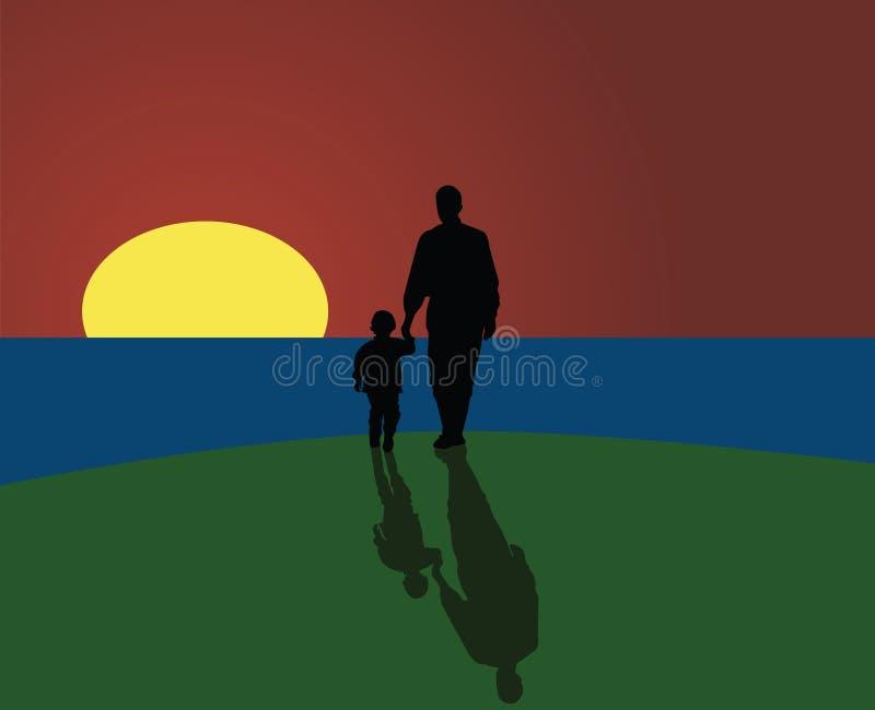 fader som ser sonsolnedgång vektor illustrationer