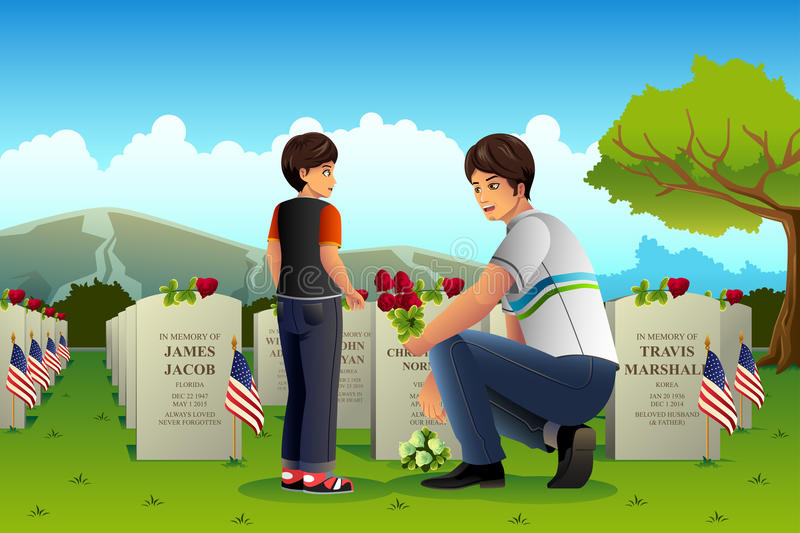 Fader Son Visiting Cemetery på Memorial Day royaltyfri illustrationer