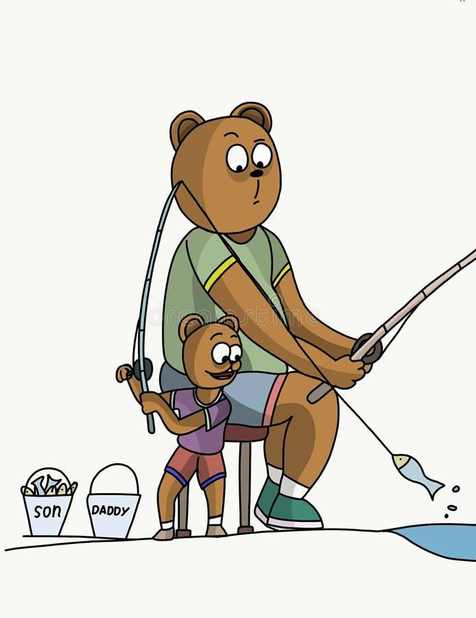 Faderbjörn- och sonfiske stock illustrationer