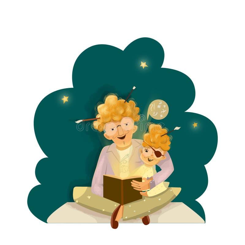 fadergyckel som har sonen tillsammans royaltyfri illustrationer