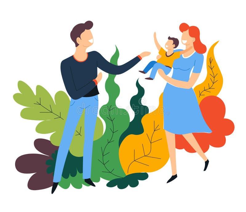 Fadermoder och att behandla som ett barn föräldrar och barnet för sonfamiljtidsfördriv vektor illustrationer