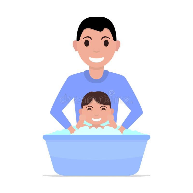 Fadern för vektorillustrationtecknade filmen badar en behandla som ett barn stock illustrationer