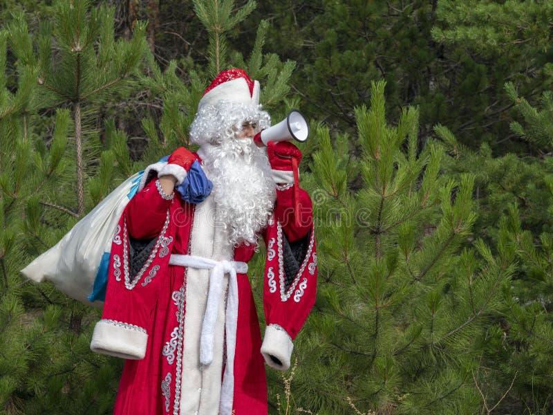Fadern Frost ropar i megafonen royaltyfri fotografi