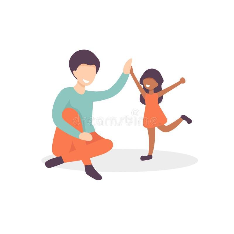 Fadern och dottern ger fem stock illustrationer