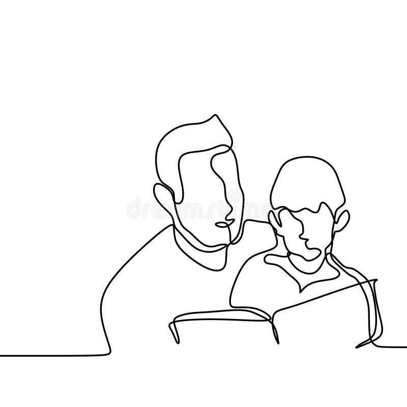 Fadern och hans son läste den fortlöpande enkla linjen teckningsvektorillustration för bok en royaltyfri illustrationer