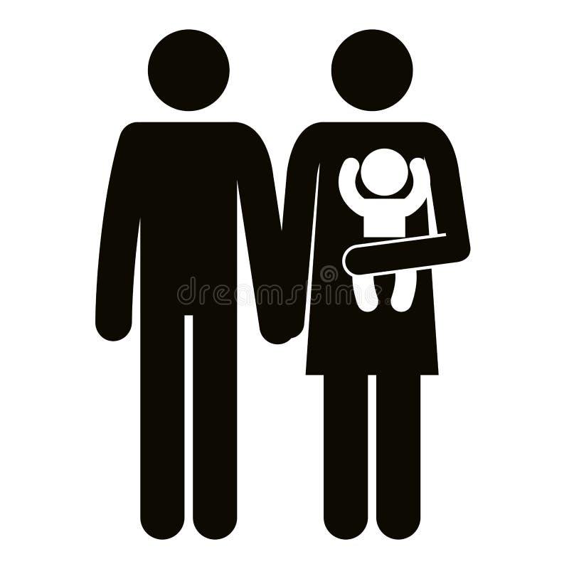 Fadern och modern med behandla som ett barn konturer stock illustrationer
