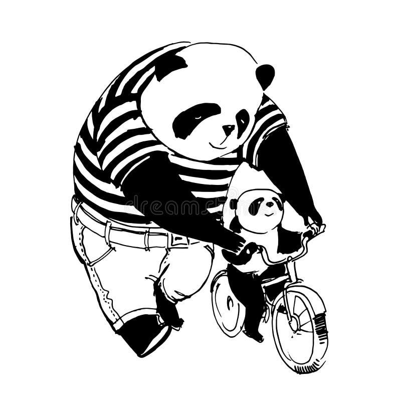 Faderpandan i svartvit t-skjorta undervisar att cykla vid b vektor illustrationer