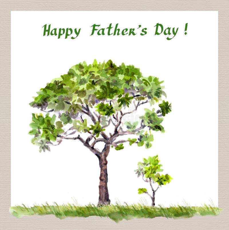 Faders dag - stor trädfader, litet groddbarn vattenfärg royaltyfri foto