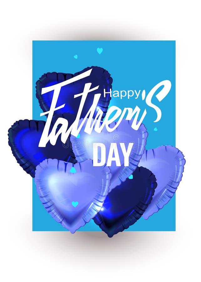 Faders kort för hälsning för dag med den hjärta formade luftballongen stock illustrationer