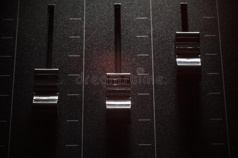 Faders of a Mixing Console stock photos