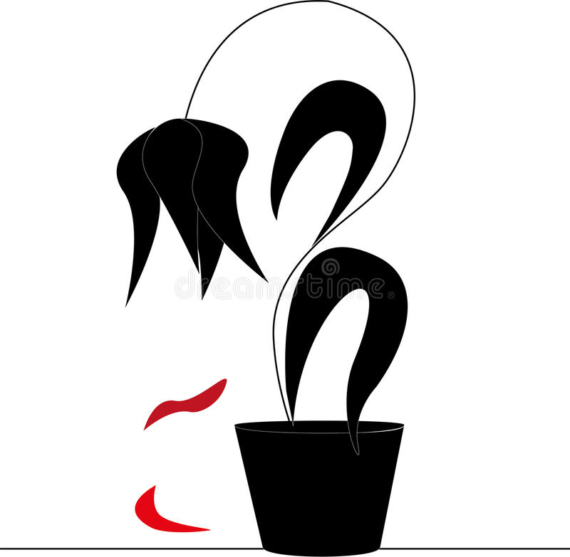 Fading flower. Fades the flower on a dark background vector illustration