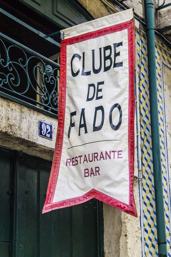 Fado Club Sign in Alfama stock images