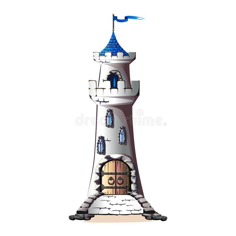 FaFairytale towers of a stone castle with a gate and a bridgeirytale Tower royalty free illustration