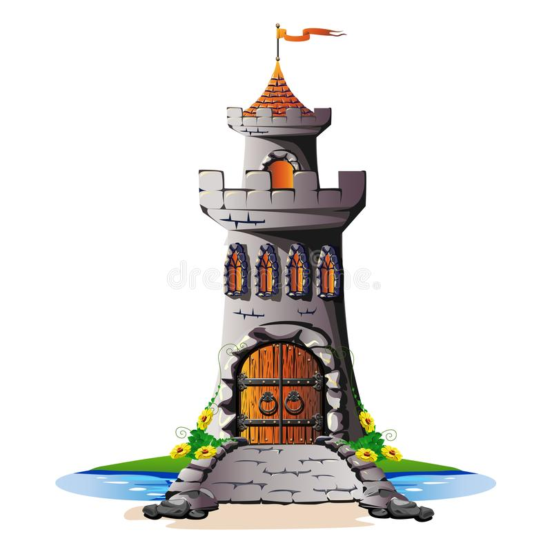 FaFairytale towers of a stone castle with a gate and a bridgeirytale Tower. Fairytale towers of a stone castle with a gate and a bridge. Vector illustration stock illustration