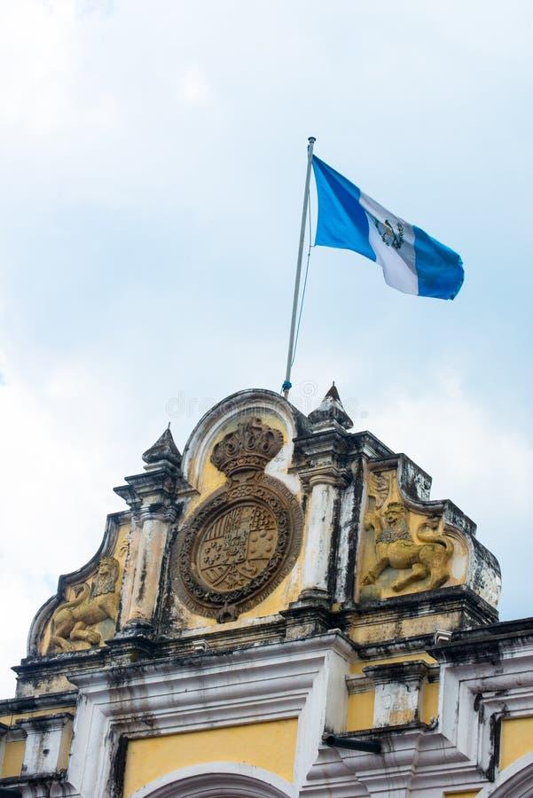 Fag της Γουατεμάλα, της Γουατεμάλας χρώματα, κοντάρι σημαίας στοκ φωτογραφία με δικαίωμα ελεύθερης χρήσης