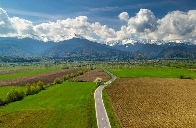 Fagaras mountain in the spring in Romania, aerial view stock images