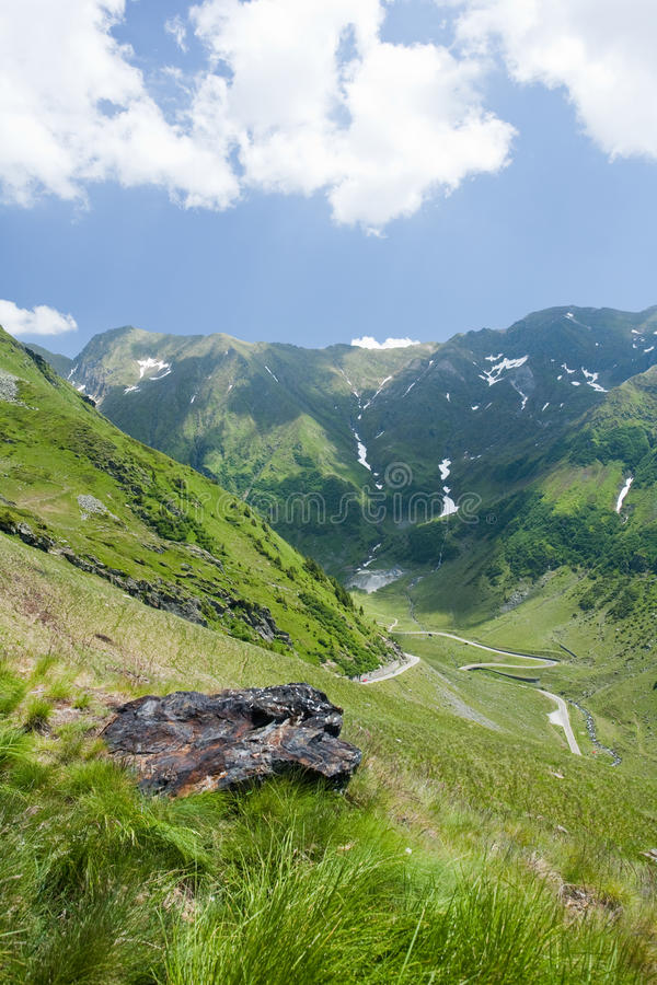 Fagaras mountains in Romania. Landscape with a beautiful view of Fagaras mountains in Romania royalty free stock images