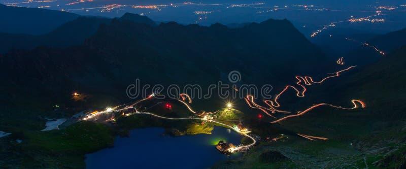 Fagaras mountains in Romania, Transfagarasan road at night. stock image