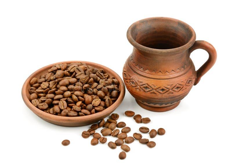 Fagioli ceramici della tazza di caffè fotografie stock