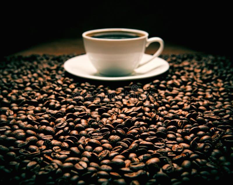 Fagioli con la tazza di caffè immagine stock