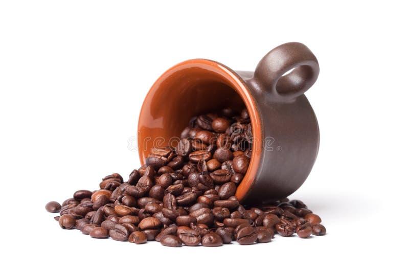 Fagioli e tazza di Coffe fotografie stock