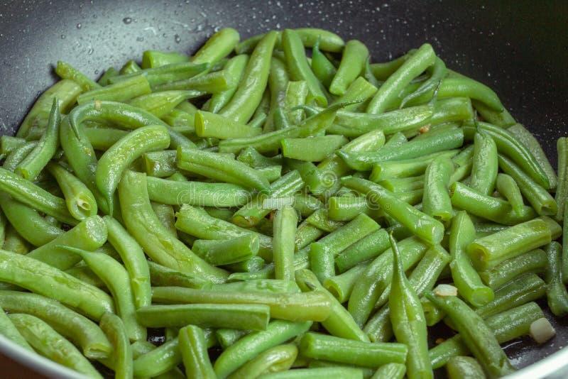 Fagioli di verdure del piatto verde dell'alimento, pasto immagini stock libere da diritti