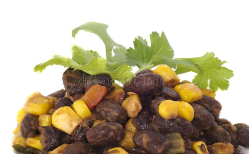 Fagiolo nero e valerianella con cilantro fotografia stock libera da diritti