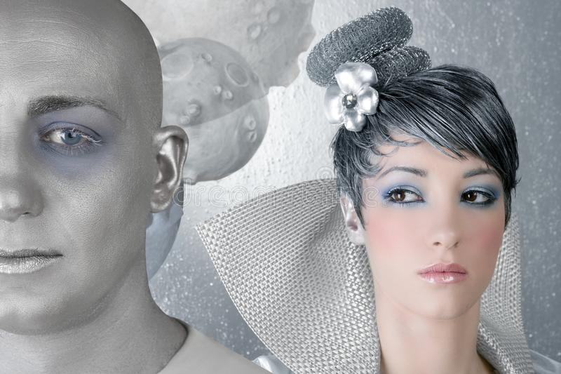 Fahion hairstyle woman futuristic silver alien royalty free stock images