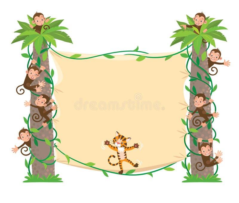 Fahne auf zwei Palme mit kleinen lustigen Tieren lizenzfreie abbildung