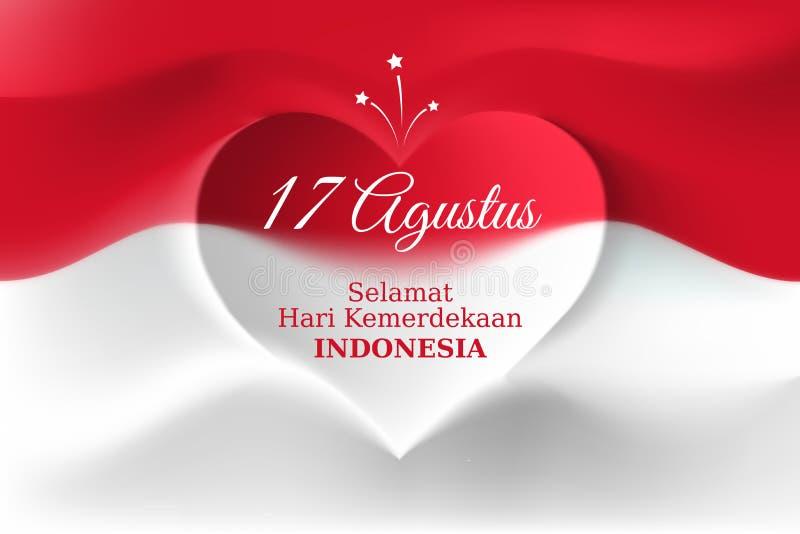 Fahne am 17. August, Unabhängigkeitstag Indonesien, indonesische Flagge der Vektorschablone mit Herzform Hintergrund mit Fliegenf lizenzfreie abbildung