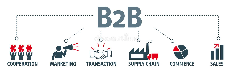 Fahne B2B-Konzeptikonen stock abbildung
