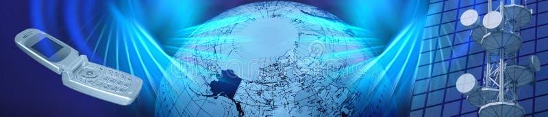 Fahne/blauer elektronischer Geschäftsverkehr/Telekommunikation des Vorsatzes lizenzfreie abbildung