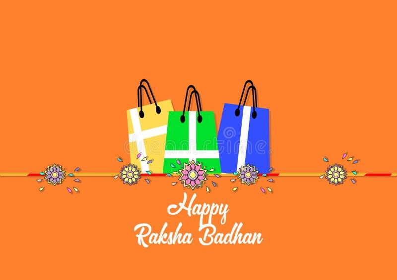 Fahne, Broschüre, Flieger oder Plakat glücklicher Raksha Badhan-Feier Wellenartig bewegende Markierungsfahne Vektorillustration E stock abbildung