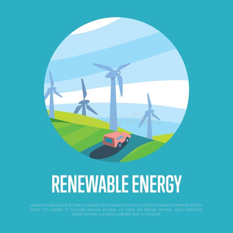 Fahne der erneuerbaren Energie WindStromerzeugung lizenzfreie abbildung