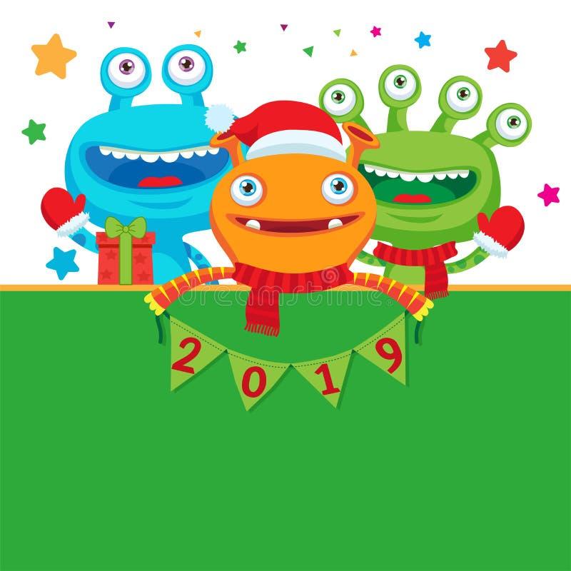 Fahne des glücklichen neuen Jahres Nette Monster im Winter-Schal mit Zahlen Grußillustration vektor abbildung