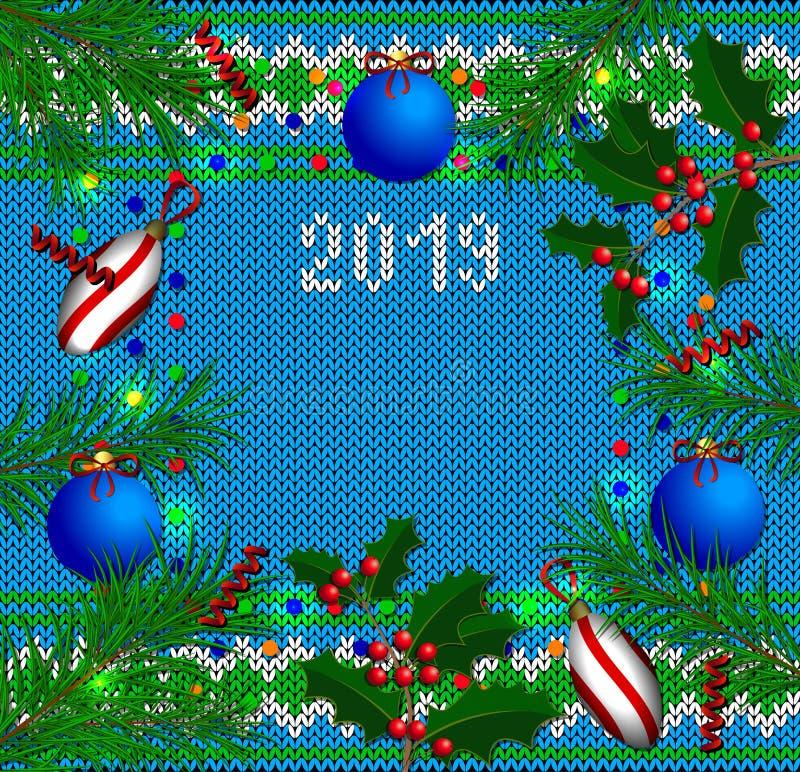 Fahne des neuen Jahres Gestrickte Beschaffenheit, Weihnachtsbaumaste, Stechpalmenniederlassungen, Weihnachtsbaumdekorationen, Kon lizenzfreie abbildung