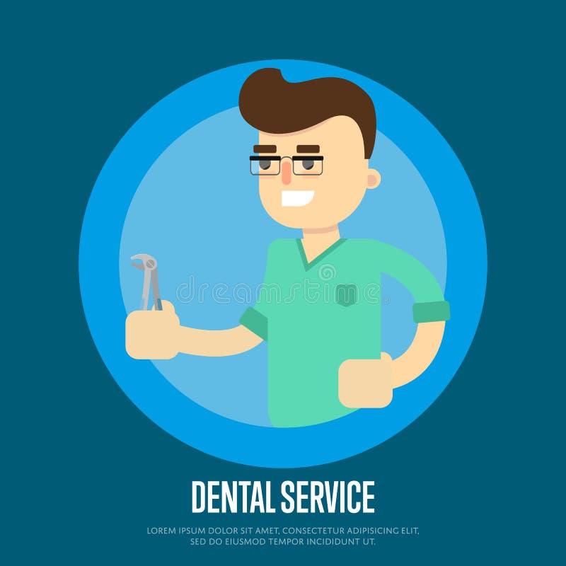 Fahne des zahnmedizinischen Services mit männlichem Zahnarzt stock abbildung