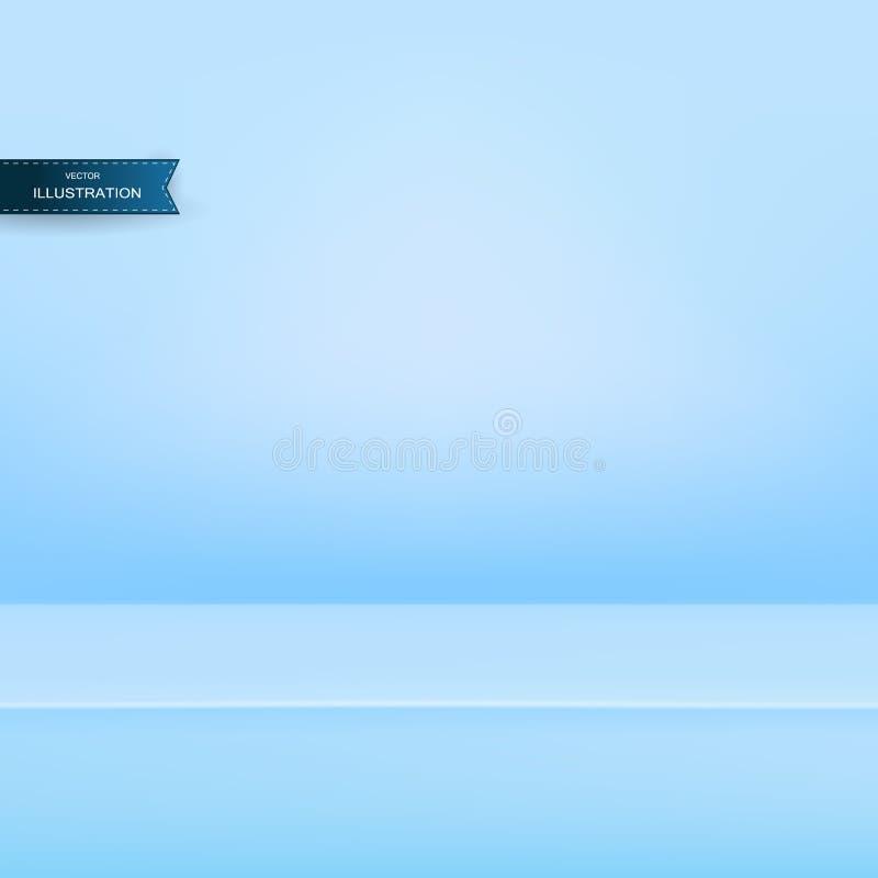 Fahne für annoncieren Produkt auf Website, des leeren hellen Studio-Tabellenraum Raumhintergrundes des Vektors hellblauer Farb stock abbildung