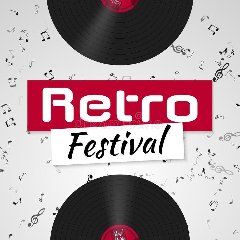 Fahne für das Retro- Musikfestival Musikalische Plakatschablone für Ihren Entwurf Musikelemente entwerfen lizenzfreie abbildung