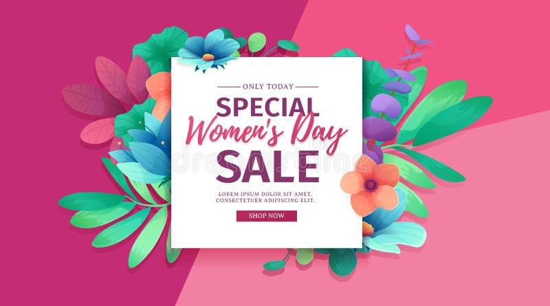 Fahne für den internationalen glücklichen Frauen ` s Tag Flieger für Verkauf am 8. März mit dem Dekor von Blumen Design horiznota vektor abbildung