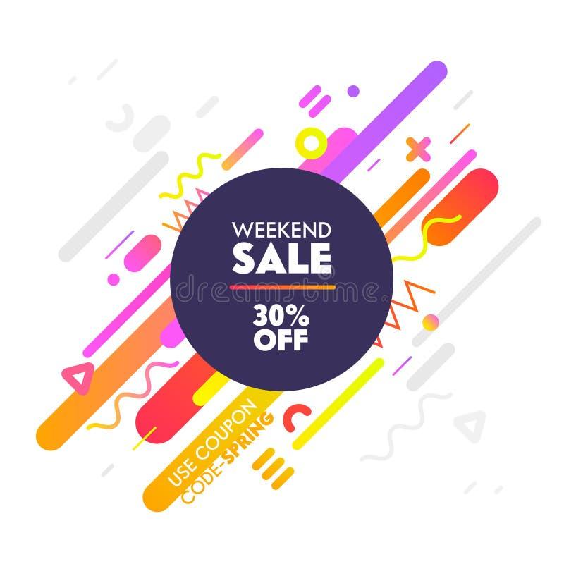 Fahne f?r Digital-Social Media, das Werbung vermarktet Neues Angebot, Wochenenden-Verkauf, Einkaufsrabatt Buntes geometrisches Mu lizenzfreie abbildung