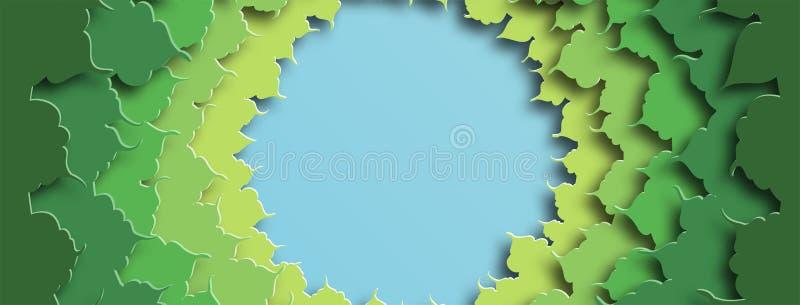 Fahne für Kappen der sozialen Netzwerke Grünes Laub Abstrakter Hintergrund in der geschnittenen Papierart Vektor lizenzfreie abbildung