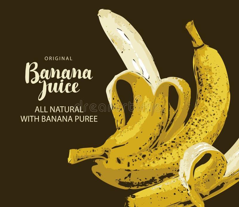 Fahne für Saft mit reifen Bananen und Aufschrift lizenzfreie abbildung